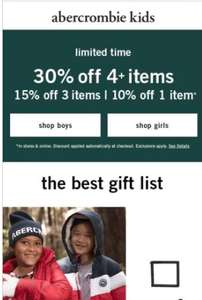 Abercrombie kids 30% off 4 items, 15% off 3 items, 10% off 1 item
