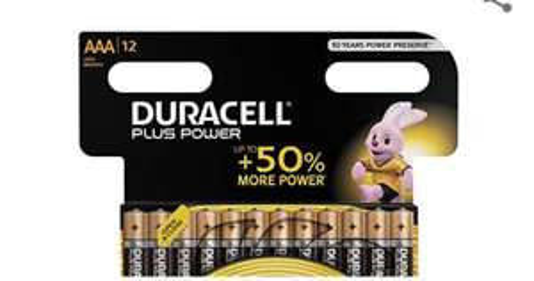 Duracell Plus Power Type AAA Alkaline Batteries, Pack of 12