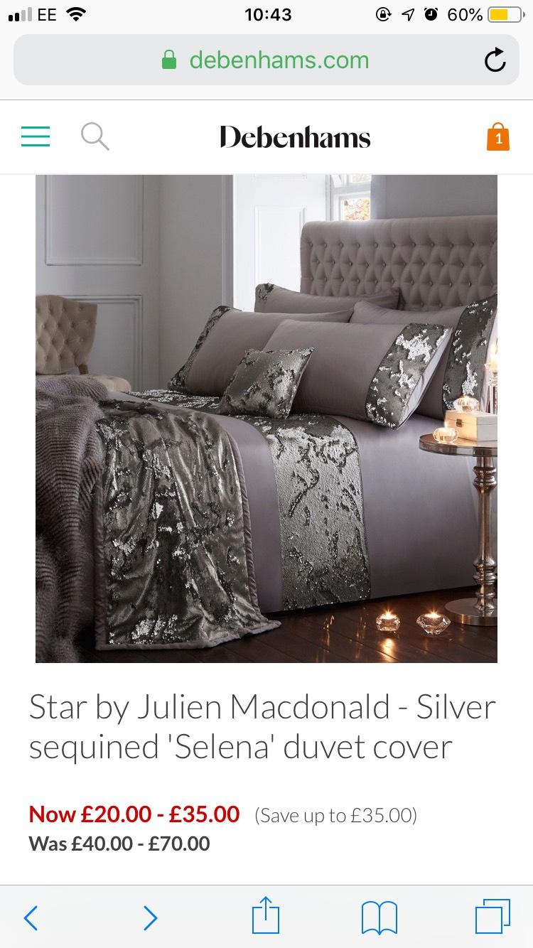 Star by Julien Macdonald - Silver sequined 'Selena' duvet cover £20 @ Debenhams