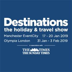 Destinations: The Holiday & Travel Show EventCity Manchester. Thursday 17th - Sunday 20th January 2019 - See tickets
