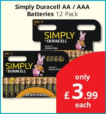 Duracell 12pk £3.99 @ Savers