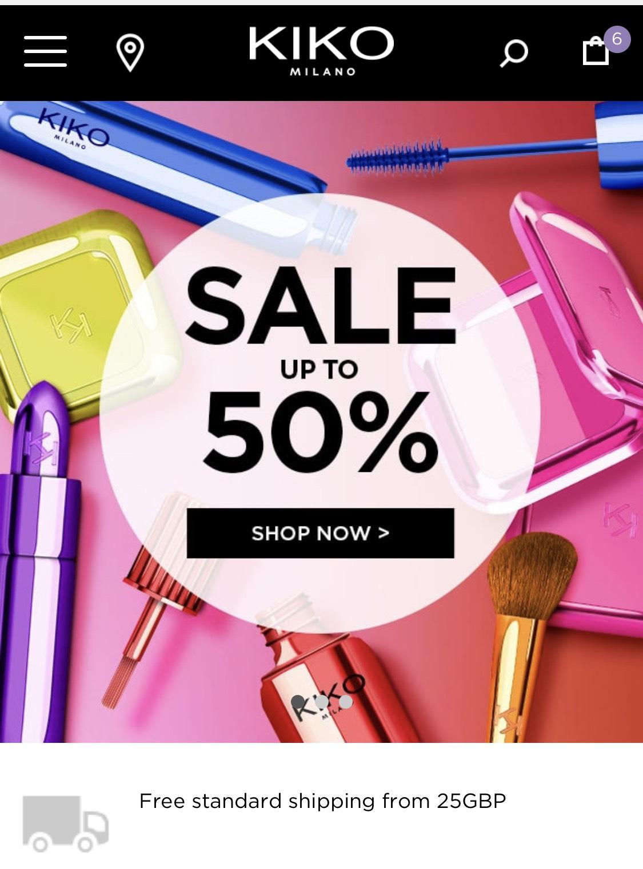 Sale now on up to 70% off @ Kiko Cosmetics