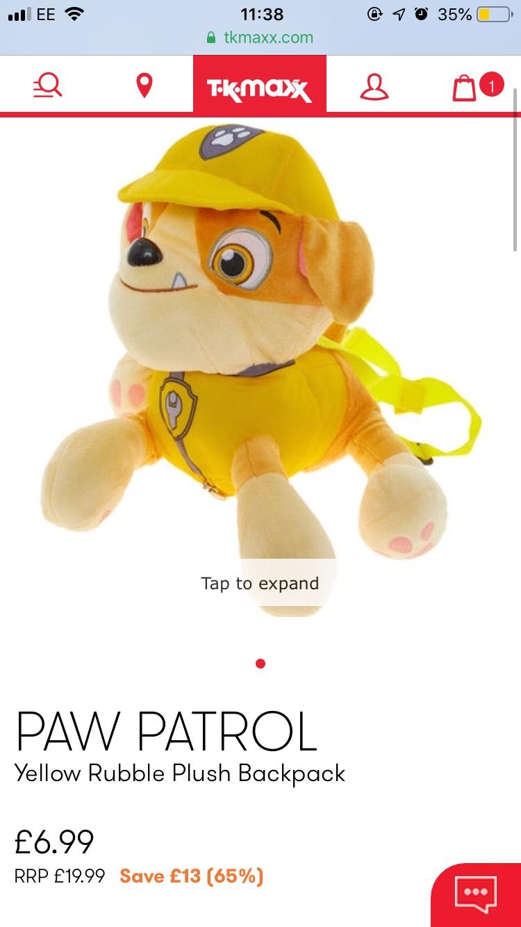 PAW PATROL Yellow Rubble Plush Backpack £6.99 @ TK Maxx - £1.99 c&c