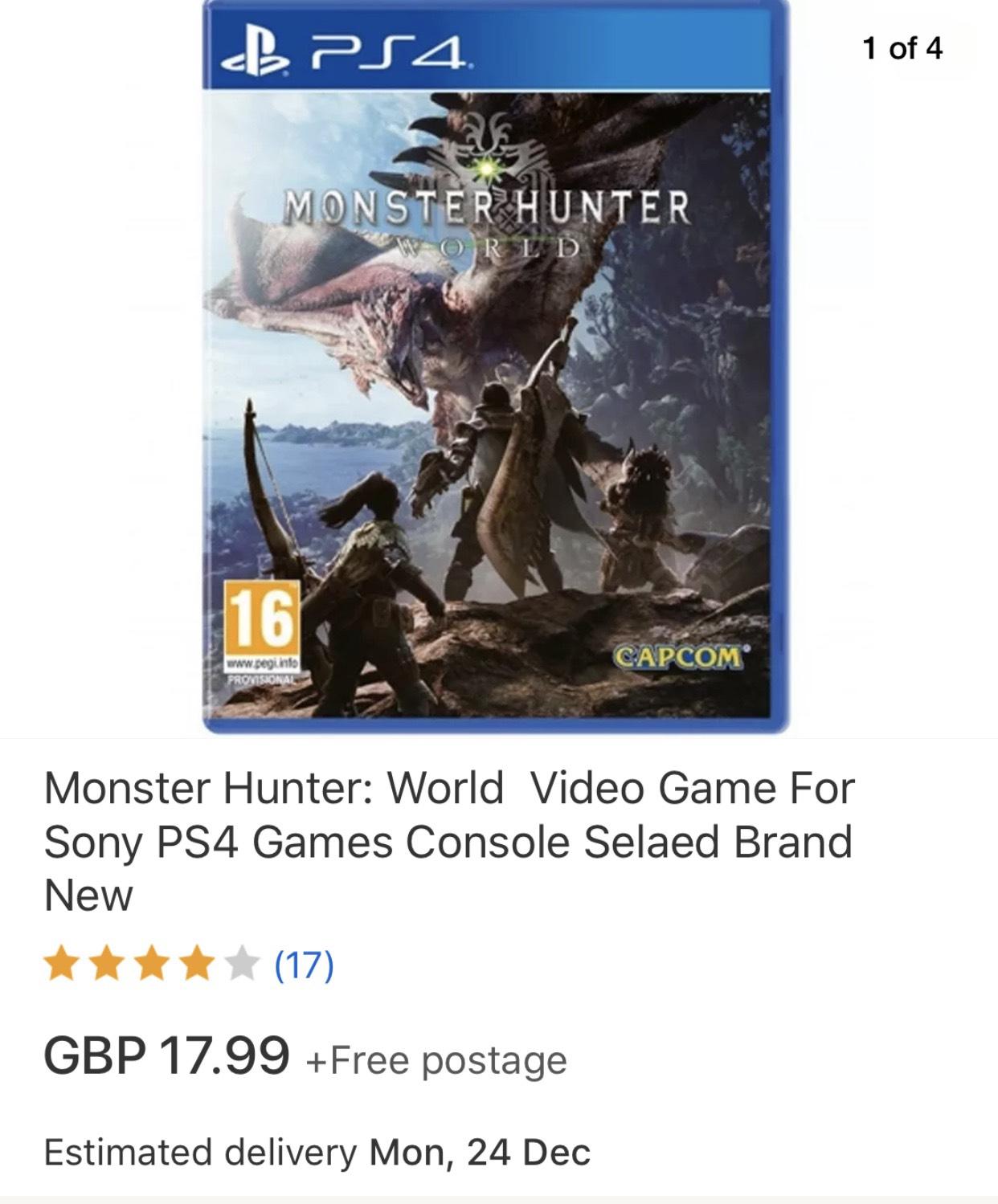 Monster hunter world ps4 (new) £17.99 @ mymemory-uk ebay