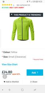 Altura Airstream Cycling Jacket Hi Viz Yellow 62% off RRP £39.99 Size small only £14.80 + £2.99 delivery @ Ribble Cycles
