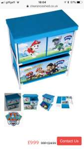 Paw patrol toy storage drawers at Clearanceshed for £12.98 delivered