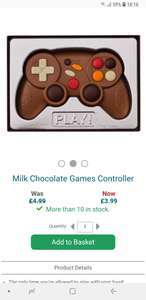 Milk chocolate games controller perfect stocking filler at The Present Finder for £8.98 delivered