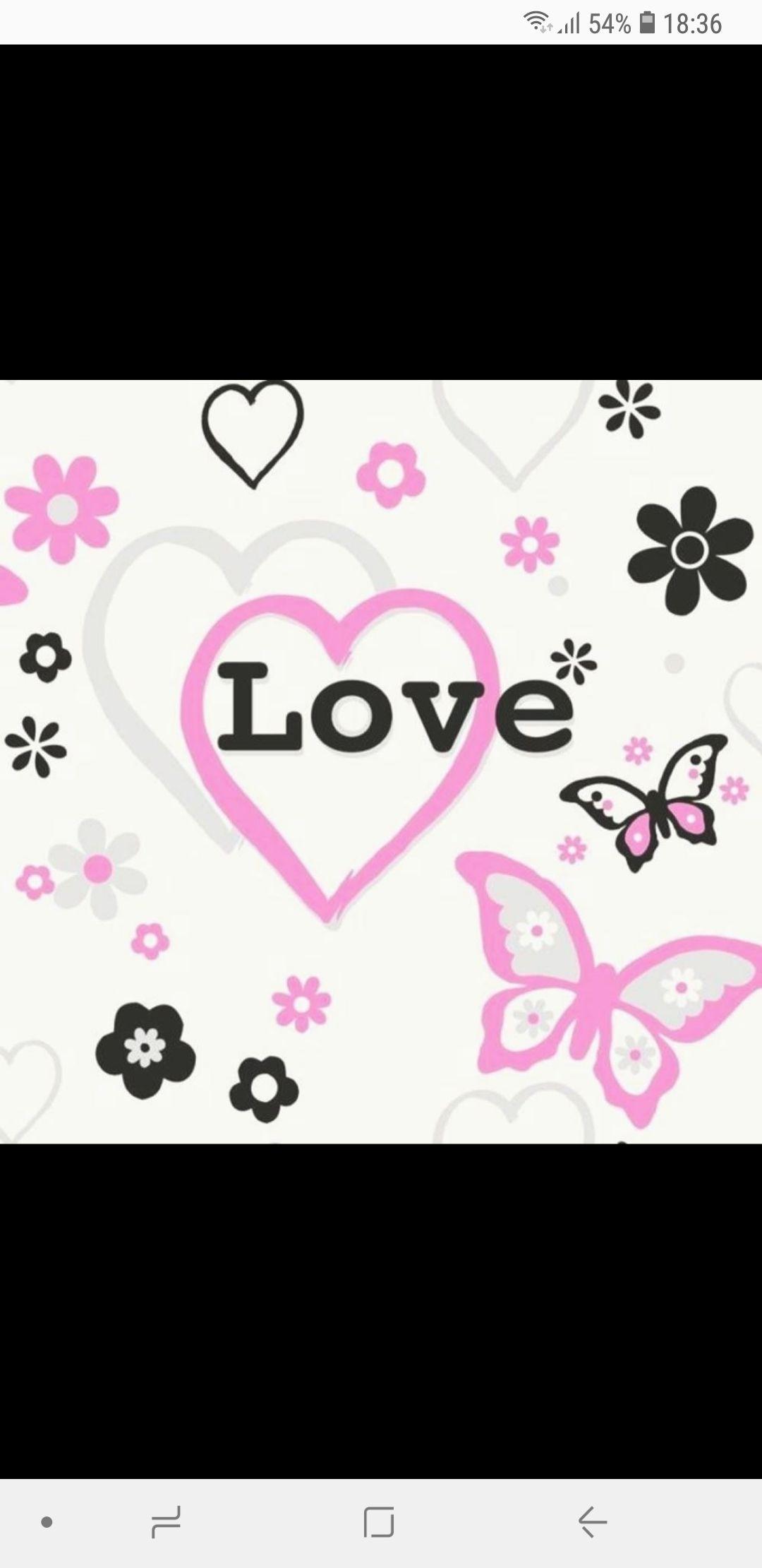 Love Hearts Flowers Butterfly Children Kids Girls Bedroom Pink Wallpaper at I Love Wallpaper for £8.49 delivered