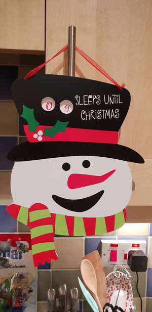 Wooden Christmas countdown decoration instore at Home Bargains for 29p
