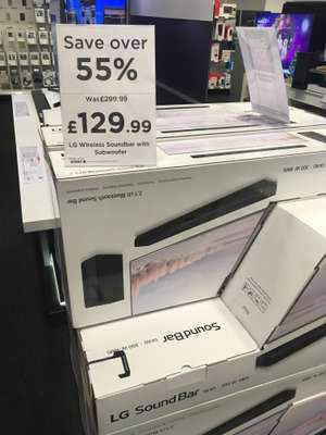 LG soundbar with sub woofer at Currys / PC World instore for £129.99/£117 with Audio10 and 6 month deezer