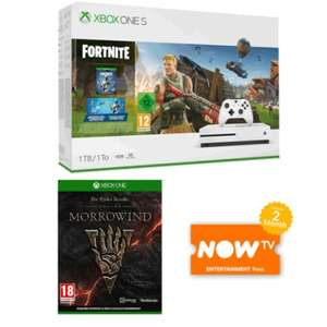 Xbox One S 1TB Fortnite Bundle The Elder Scrolls Online: Morrowind NOW TV 2 Months Entertainment Pass at Game for £199