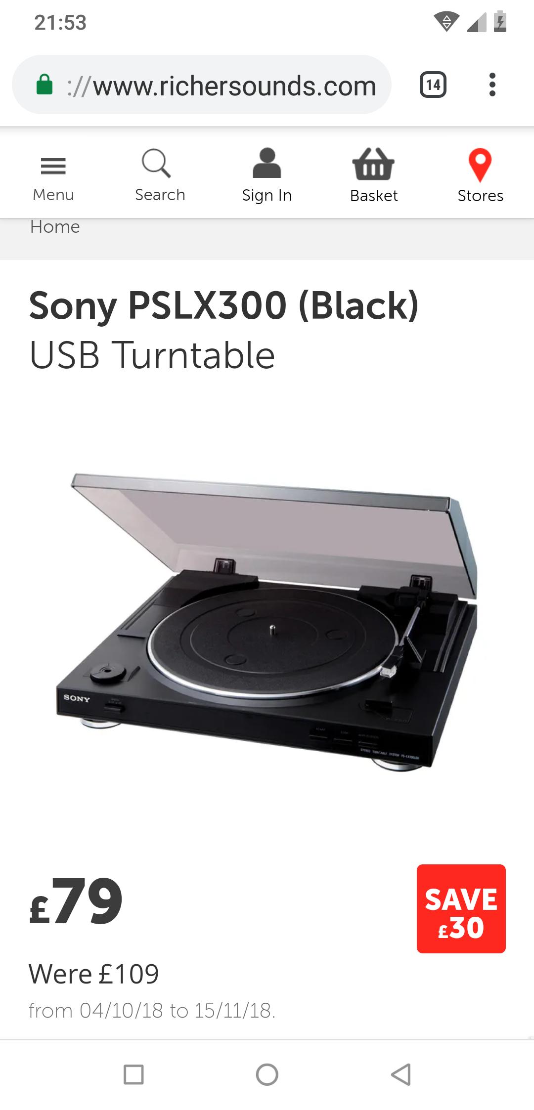 Sony PSLX300(Black)  USB Turntable £79.99 @ richersounds