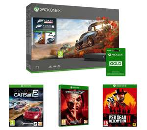 MICROSOFT Xbox One X, Forza Horizon 4, Forza Motorsport 7, Red Dead Redemption 2, Tekken 7, Project Cars 2 & LIVE Gold Bundle Currys £409.99