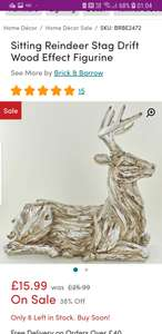 Sitting Reindeer Stag Drift Wood Effect Figurine £15.99 + £4.99 del wayfair