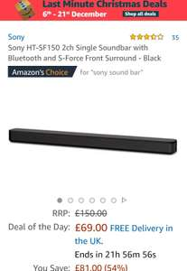 Sony HT-SF150 2ch Single Soundbar with Bluetooth and S-Force Front Surround - Black £69 Amazon