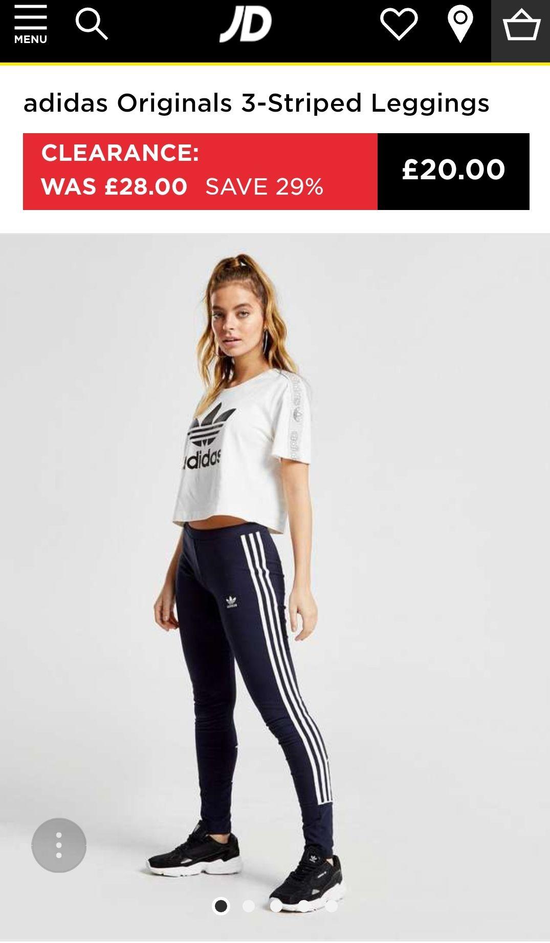 adidas Originals 3-Striped Leggings £20 + £4.99 del/c&c JD Sports
