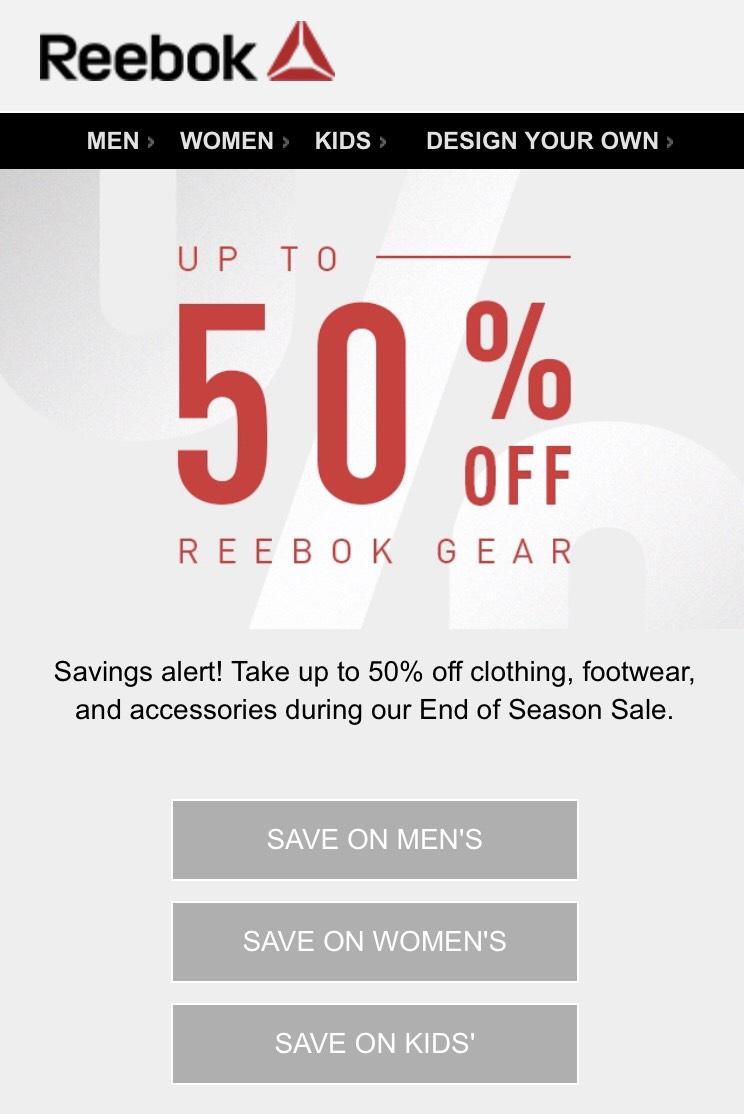 End of season sale Upto* 50% off sale Reebok