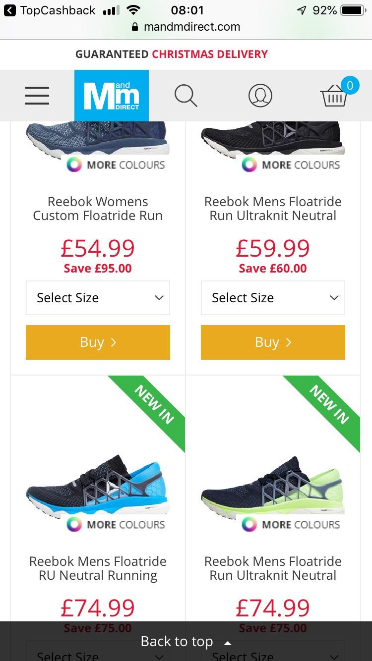 Reebok Floatride Running Shoes - 1/2 Price £74.99 + £4.99 del at MandM Direct