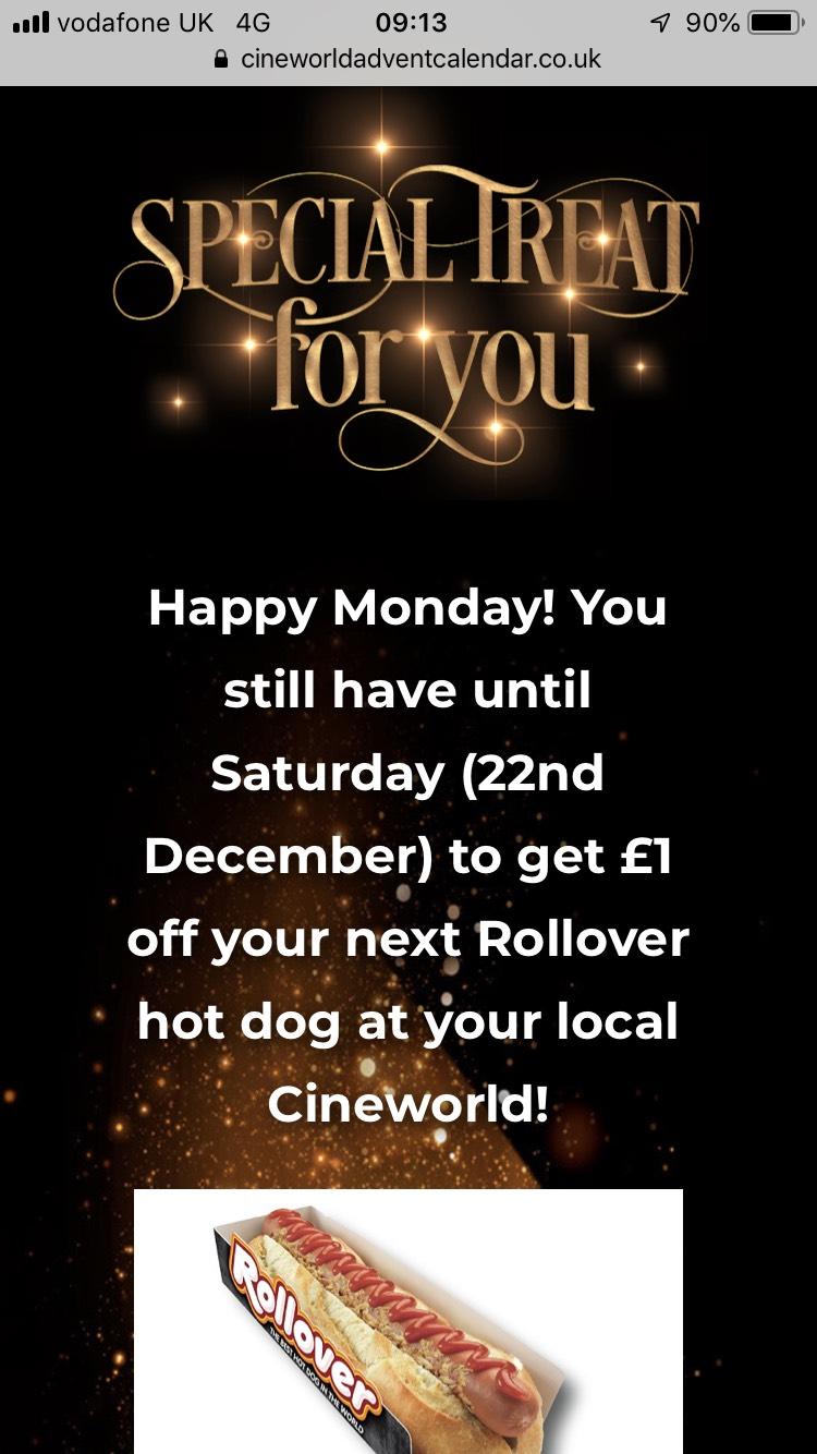 Cineworld Advent Calendar - £1 off Hotdog with QR code!!