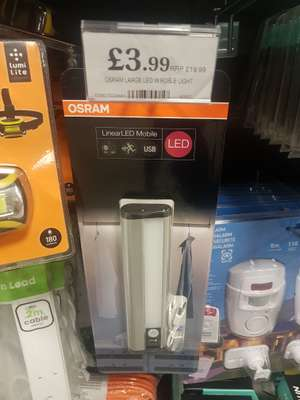 Rechargeable Osram IP54 Linear Mobile LED Luminaire, Cold White, 20 cm, 1W - £2.99 Home Bargains