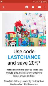 Get 20% off full price items with code LASTCHANCE + Free Delivery with code XMAS18 @ Shop Disney