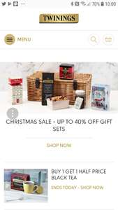 Up to 40% off gifts Christmas gift sets  at twinings