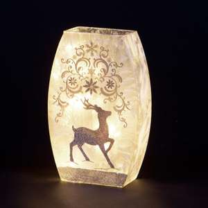 Illumianted 'Golden Reindeer' Frosted Glass Ornament £19.99 Christmastreesandlights
