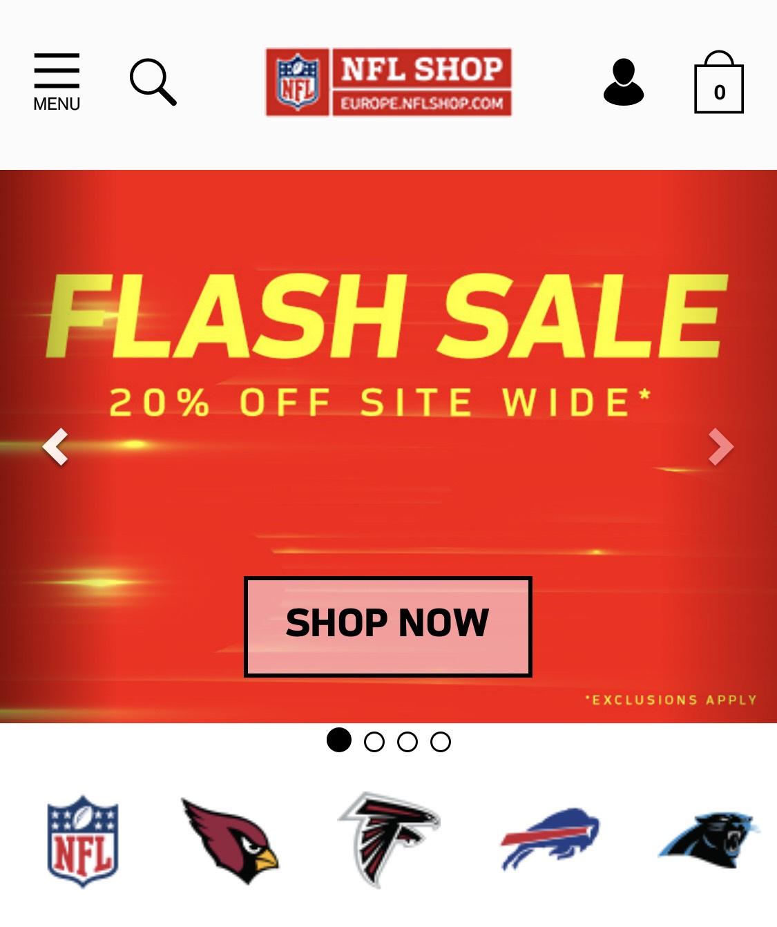 Europe NFL Shop  - 20% off flash sale