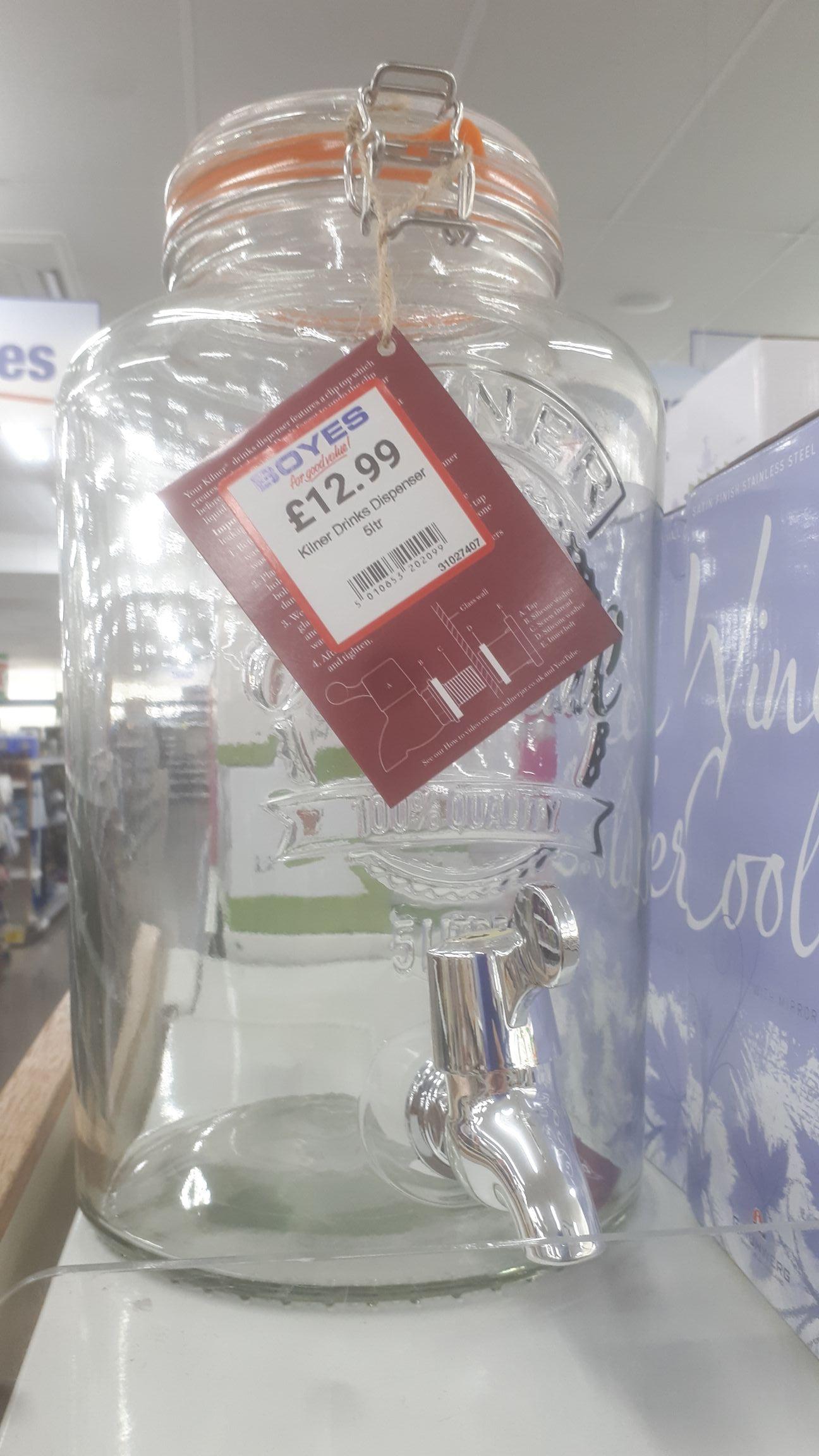 Kilner 5l drinks dispenser £12.99 Boyes  instore
