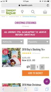 Pre-filled stockings now £15 - includes adults, kids, boys & girls and Star Wars @ Hawkins Bazaar
