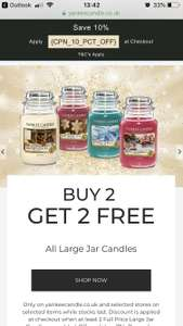 Buy 2 large jars and get 2 FREE at Yankee Candle works out at £11.99 each or add 2 reduced ones and pay just £33.50