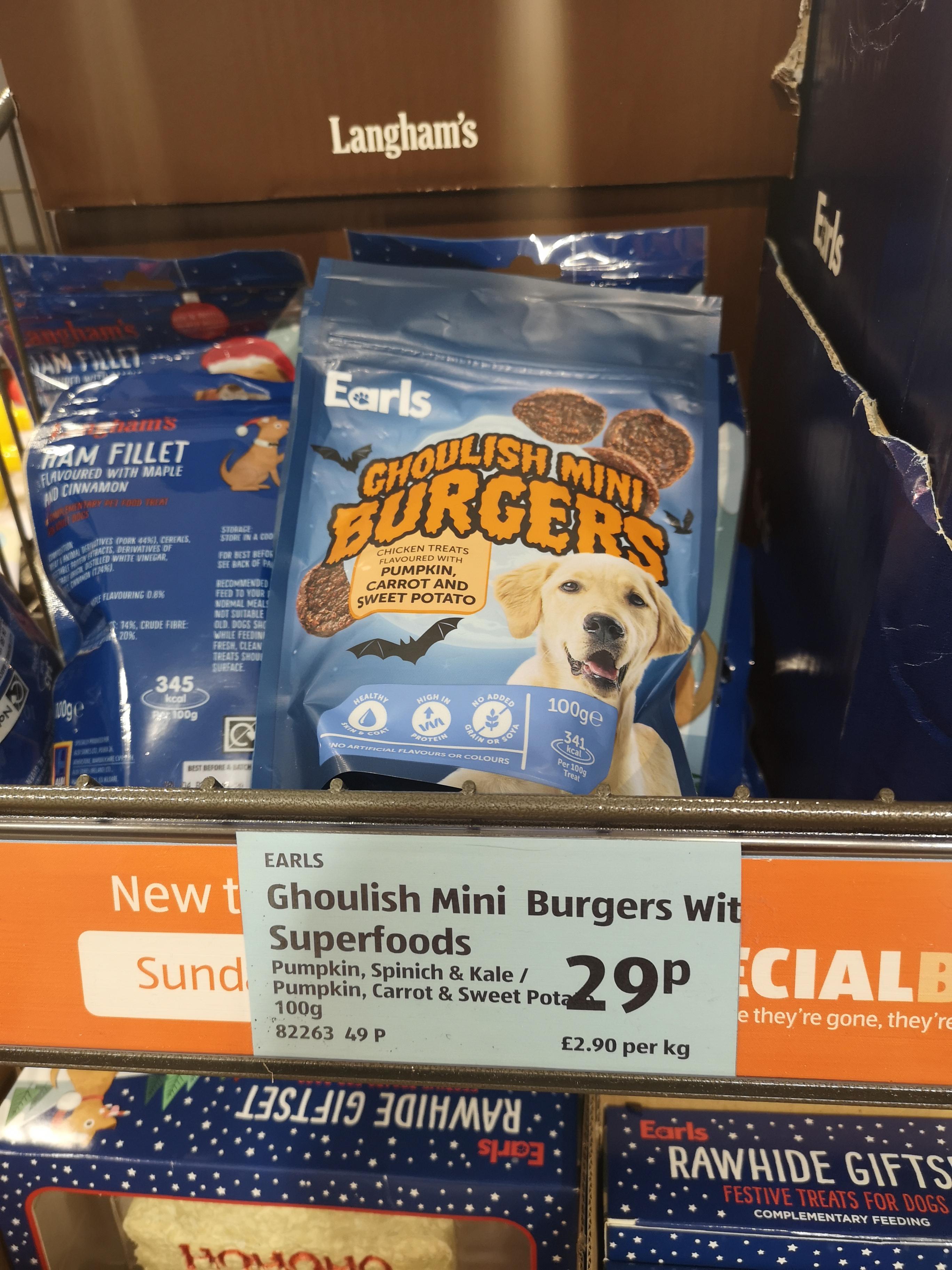 Earls Ghoulish mini burgers with superfoods Aldi Dog Treats