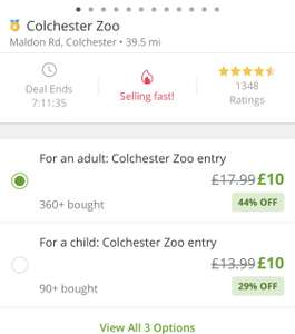 Colchester zoo - adult entry £8 with code at Groupon