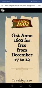 Ubisoft Anno 1602 FREE giveaway