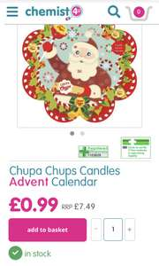 Chupa Chups Candles Advent Calendar £0.99 @ Chemist4u.com (+£2.95 P&P)