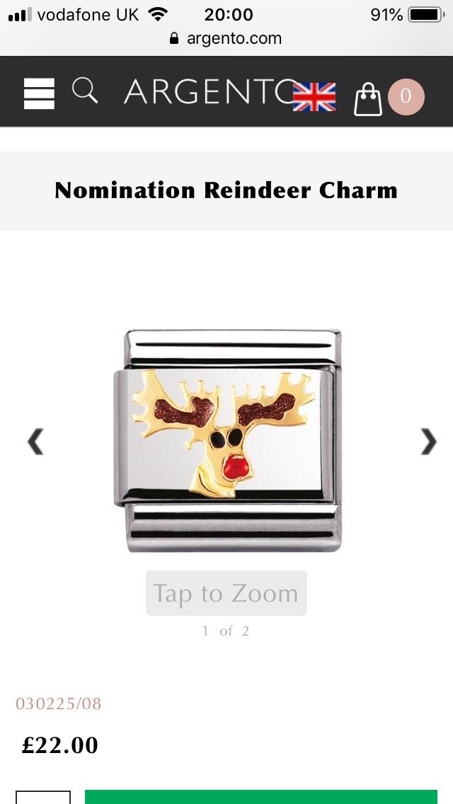 Reindeer nomination charm £22 @ Argento