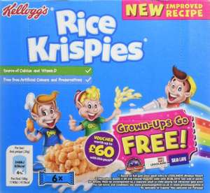 Kellogg's Rice Krispies Cereal and Milk, 6 Bars, Pack of 7 @ Amazon £5.89 Prime £10.38 Non Prime