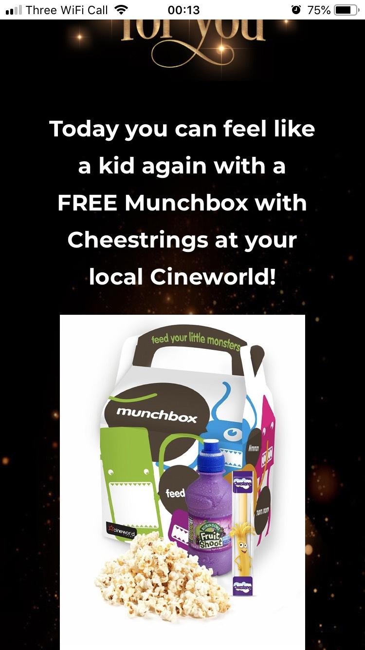 Free munch box at cineworld