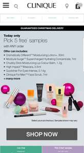 Clinique 5 free samples with any purchase at clinique