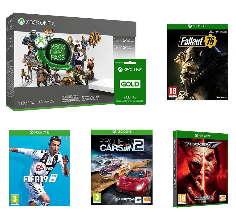 MICROSOFT Xbox One X, Game Pass, LIVE Gold Membership x 2, Tekken 7, FIFA 19, Fallout 76 & Project Cars 2 Bundle £419.98 Currys