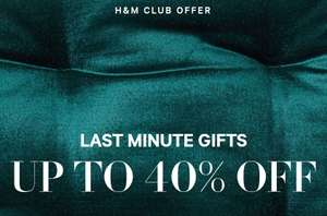 H&M online upto 40% off last minute gifts (party clothing) Free del for club members