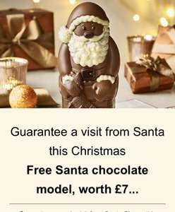 Free chocolate Santa Clause worth £7 no minimum spend stack with 10% off code and 3 for 2 free chocolate box with £35 spend Thornton's
