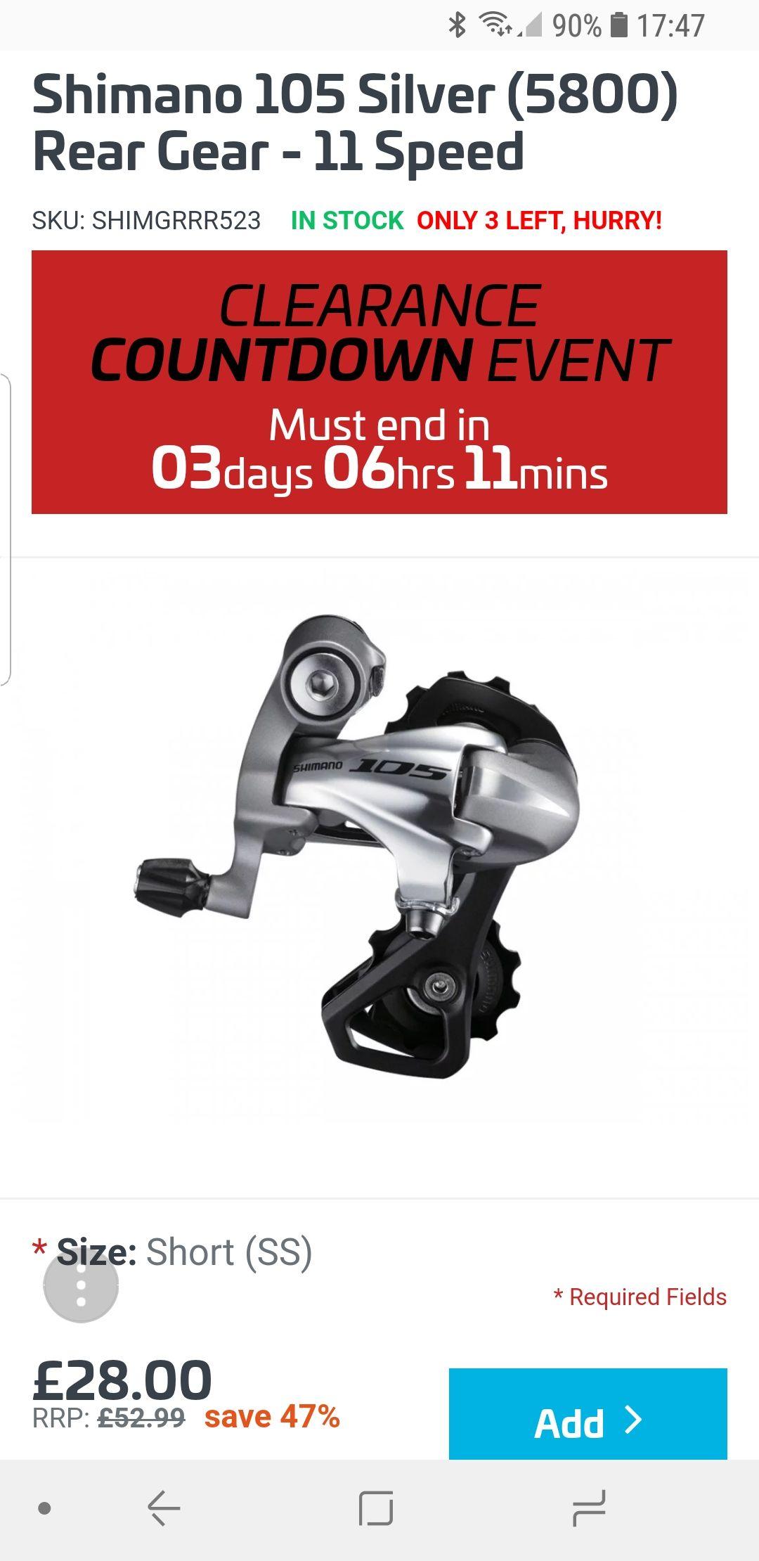RRP £52.99 Shimano 105 Silver (5800) Rear Mech 11 speed. £28 @ Wiggle