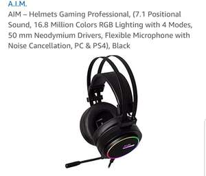 Used AIM – Helmets Gaming Professional, 7.1 Positional Sound, 16.8 Million Colors RGB Lighting 4 Mode £13.39 + £4.99 If non prime. @ Amazon