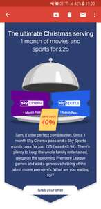 GREAT for Xmas entertainment - 1 months Sky Sports AND Sky Movies for £25 @ NOW TV