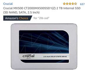 Crucial MX500 2TB SSD £229.99 (reduced from £308) @ Amazon