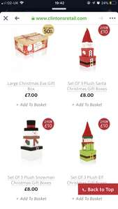 £8 each or £10 for two sets of stacking Christmas character gift boxes - Clinton Cards (+£1 P&P)