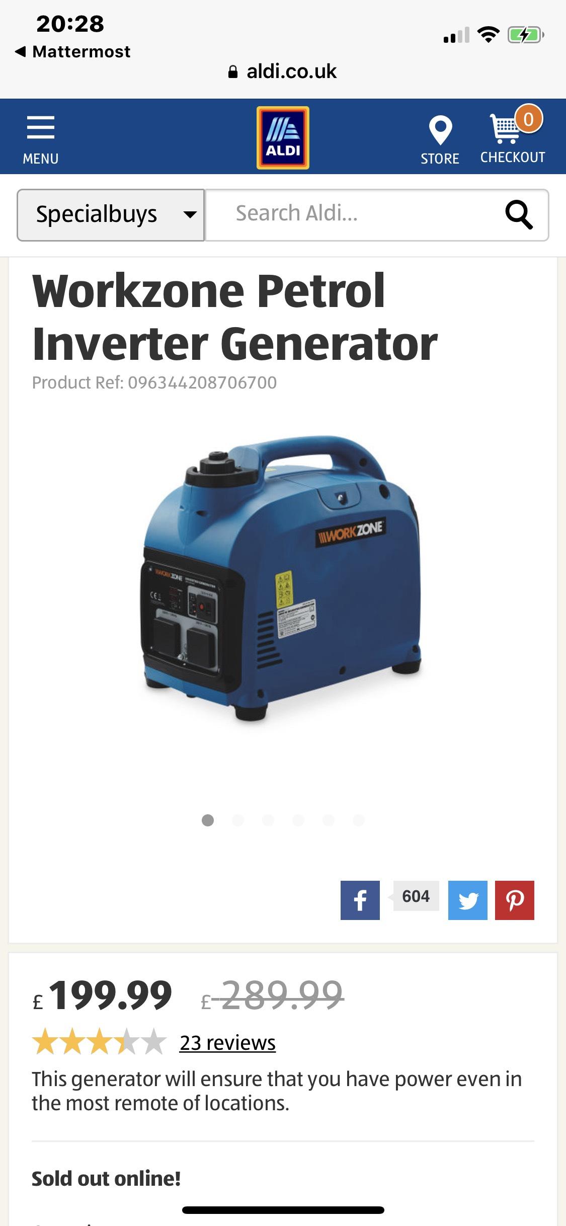 Workzone Petrol Inverter Generator £199.99 @ Aldi