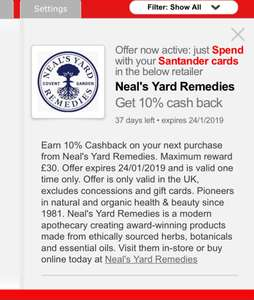 10% cash back at Neals Yard Remedies at Santander retailer offers (account specific)