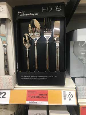 Sainsbury's home purity cutlery set 16 pc £11.70 instore
